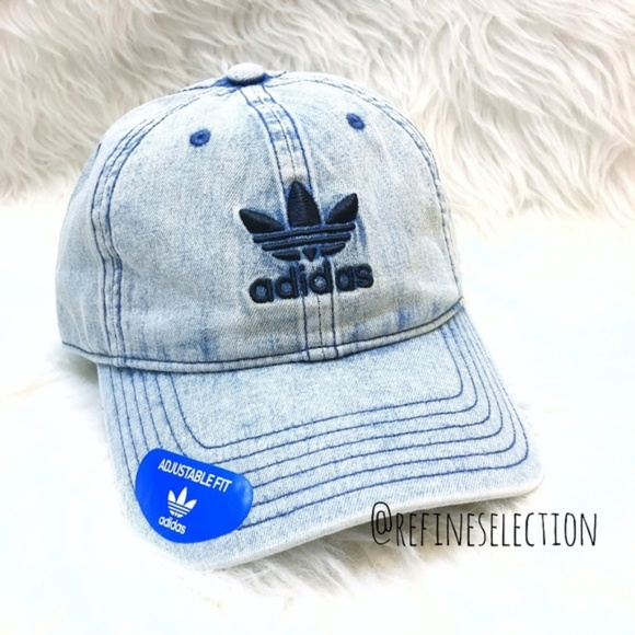 adidas Trefoil Washed Blue Denim Relaxed Dad Hat 6196319525b3